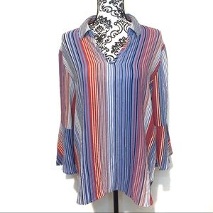 Investments Striped Bell Sleeve Blouse